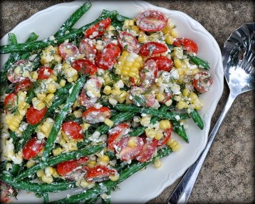 Green Bean Garden Salad, a 'real' garden salad, fresh beans, tomatoes, corn tossed in tangy feta dressing. Recipe, tips, nutrition data at Kitchen Parade.