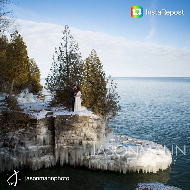 Door County winter wedding photo at Cave Point.