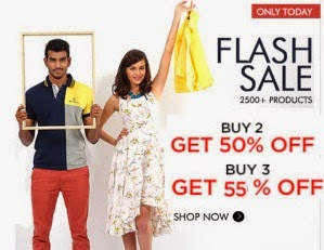 Myntra : Clothing, Footwear & Accessories Buy 2 get 50% off, Buy 3 Get 55% off
