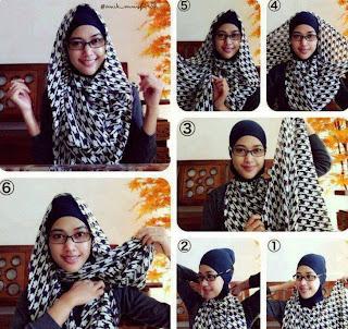 ... segi empat yang simple, atau tutorial cara memakai jilbab segi empat