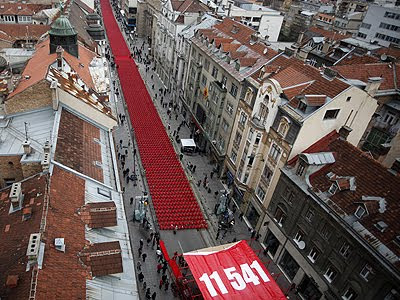 11,541 red chairs, Bosnia