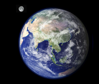 Composite photograph of the Earth and moon by NASA