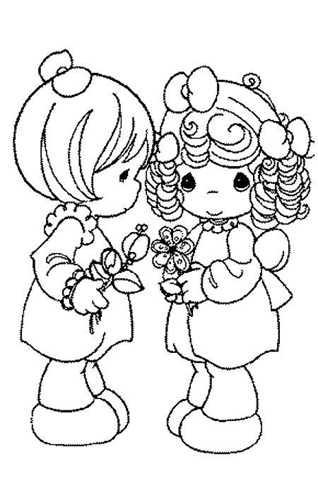 صورة بنتان تحملان الزهور لتلوين الاطفال