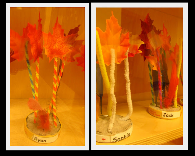 Fall Tree Sculptures with Silk Leaves on Pipe Cleaners (Fall RoundUP via RainbowsWithinReach)