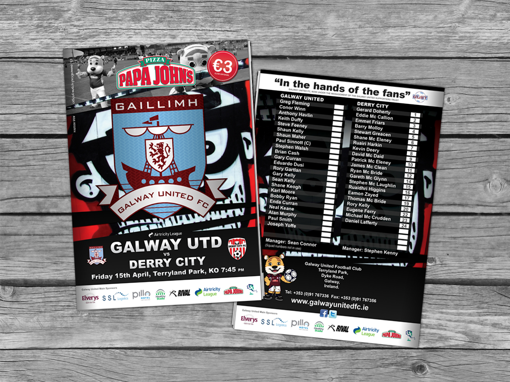 Poster design galway - My Idea Behind The Design Of This Years Series Of Galway United Fc Match Programmes Posters Was Pretty Simple Galway United Are Very Much An Urban Team