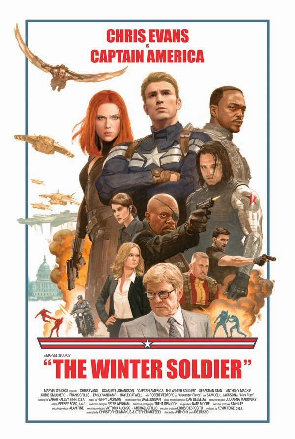 Cast & Crew Exclusive Captain America The Winter Soldier Theatrical One Sheet Movie Poster by Paolo Rivera