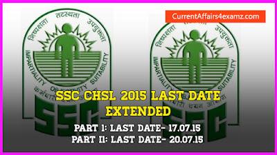 SSC CHSL 2015 Last Date