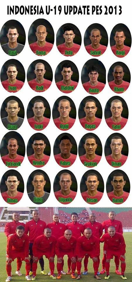 PES 2013 Indonesia U-19 Update Face by AddyJams