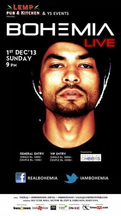 BOHEMIA the punjabi rapper Live at LEMP, Gurgaon (December 1st 2013)