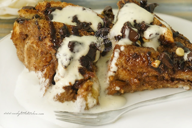 Chocolate Bread Puding with Cream Cheese Sauce