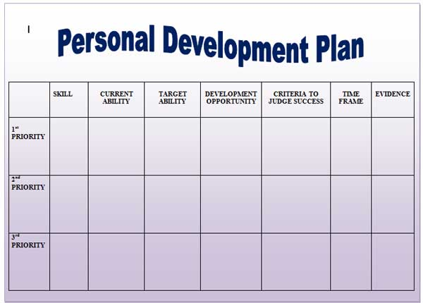 Leadership Development Plan Template  Example Of A Personal Development Plan Sample