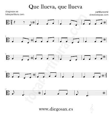 Que llueva que llueva partitura de Viola en Clave de Do