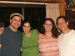 Sarah Silverman with ex-boyfriend Jimmy Kimmel and her sister Rabbi Susan Silverman and brother-in-law Yossi Abramowitz