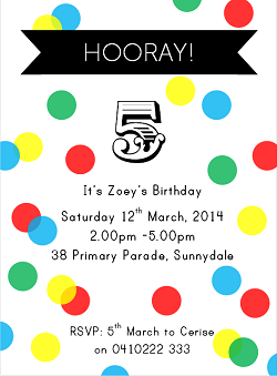 Rainbow Polka Dot Party Printable Invitation for Boys and Girl's birthday Parties. Quick and easy! Personalised with all your details and emailed to you. Via Love That Party