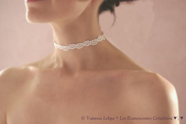collier de mariée romantique dentelle calais blanche cristal swarovski pièce unique rare pour mariage raffiné haute couture sur mesure vanessa lekpa