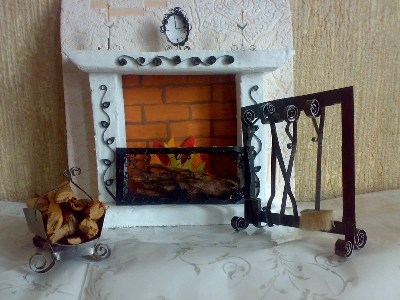 кукольный камин из пенопласта, кукольный дом, мебель