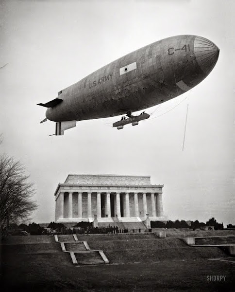 February 1930. Army Airship C-41 lands on Mall at Lincoln Memorial, honoring Lincoln's Birthday