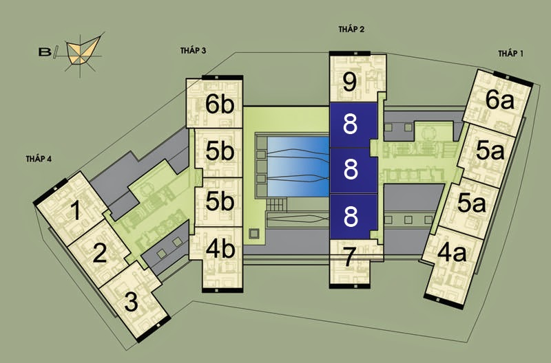 Vị trí căn hộ CH8 - 133m2 trên mặt bằng căn hộ Dolphin Plaza