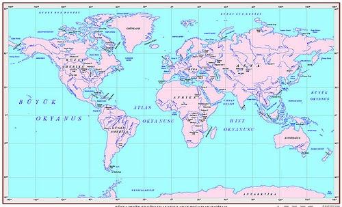 D�nya Denizler, G�ller, Akarsular ve Bo�azalar Haritas�