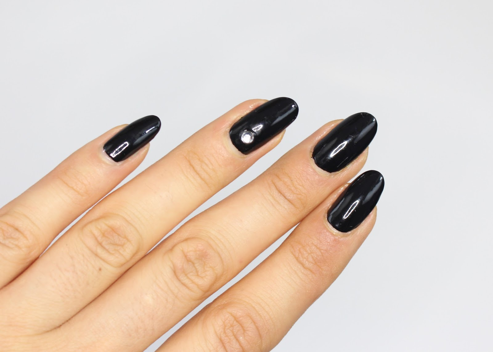 ManiMonday: Licorice Nails with a Jewel Accent - BTW