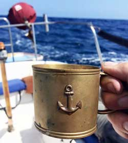 Sailing to Catalina Island with my brass anchor mug.
