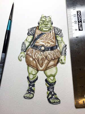 Watercolour painting of Vintage Star Wars Gamorrean Guard