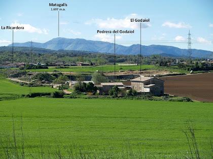 Vista cap a llevant amb el Godaiol i el Montseny al fons, des de les instal·lacions de la granja de porcs PORCVIC, S.A.