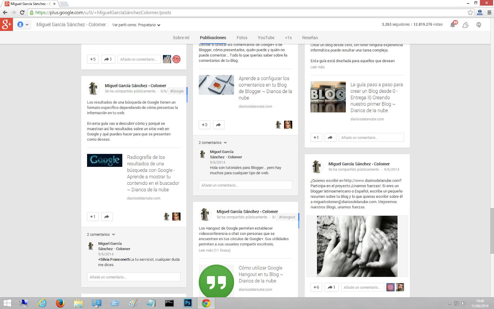 Publicaciones de un perfil Google+