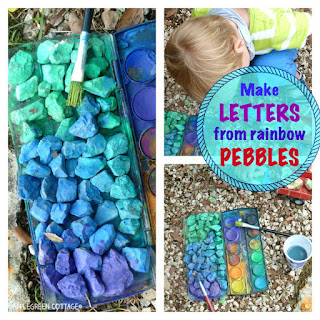 make letters from colored pebbles