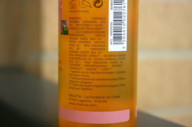 Melvita Rose Nectar Milky Cleansing Oil For Face and Eyes Ingredients