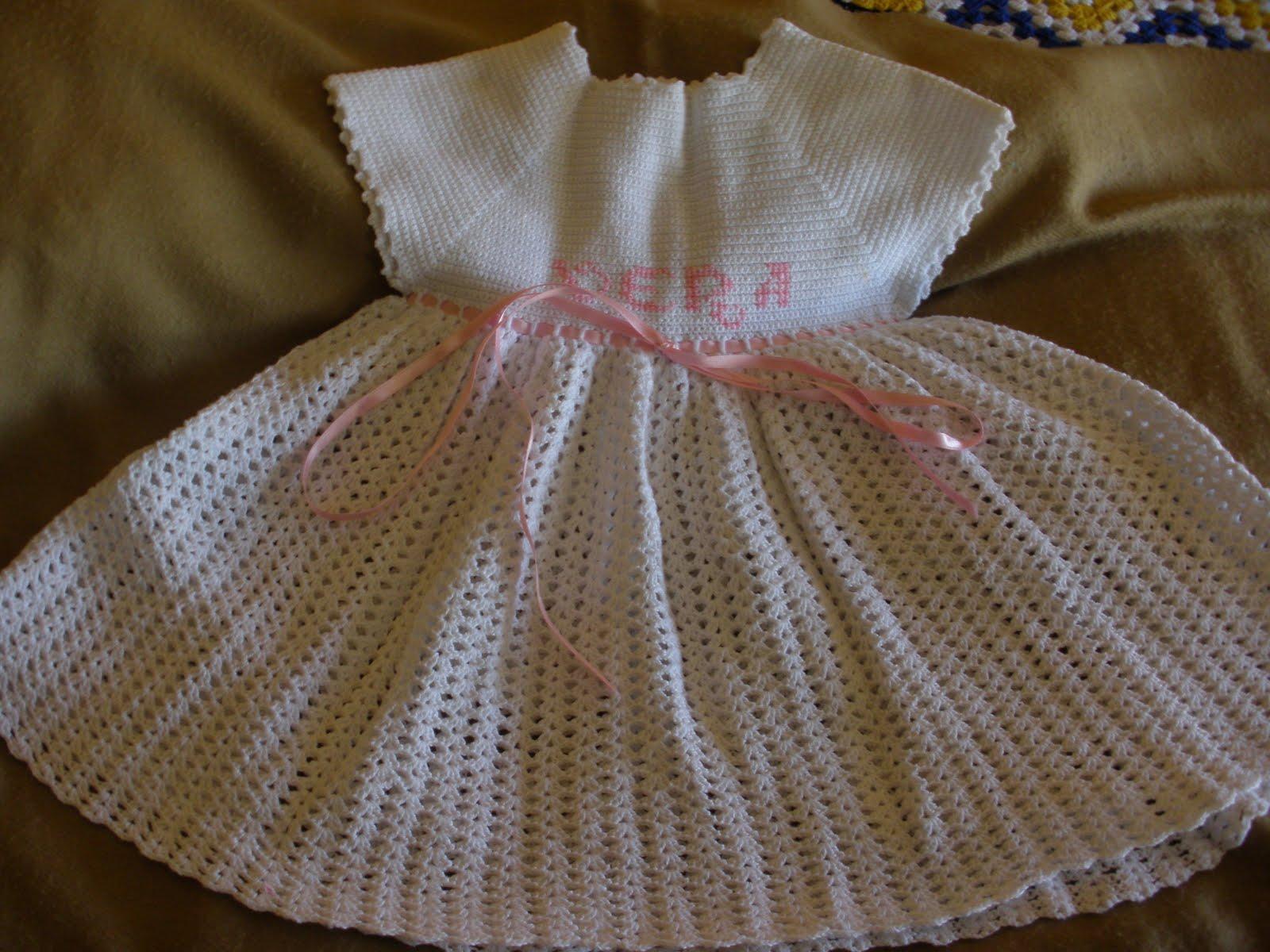 vestido crochet niña de 3 a 9 meses y faldon bebe y vestido bebe