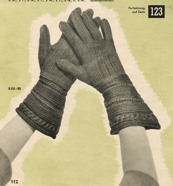 The Vintage Pattern Files: 1950s Knitting - Handscuhuhe Fur Damen