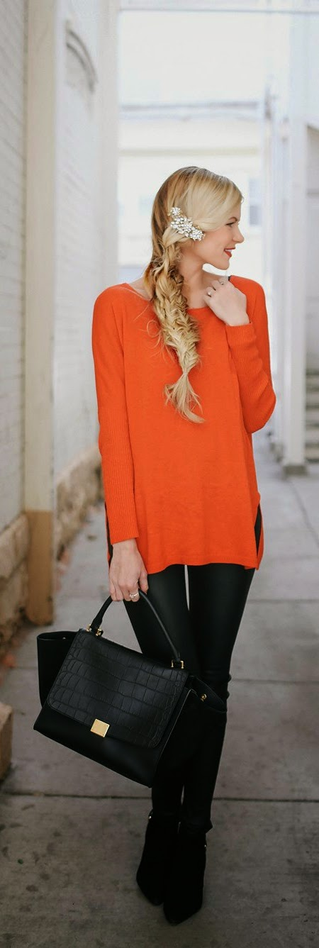 Orange Comfy Top with Faux Leather Pant and Messy Braids | Spring Street Outfits