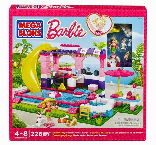 JUGUETES - MEGA BLOKS Barbie  80136 Fiesta en la piscina de Chelsea  Producto Oficial | Piezas: 226 | Edad: 4-8 años