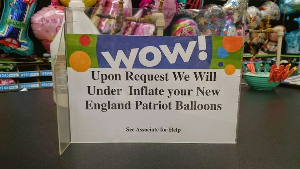 wow! Upon request we will under inflate your new england patriots ballons