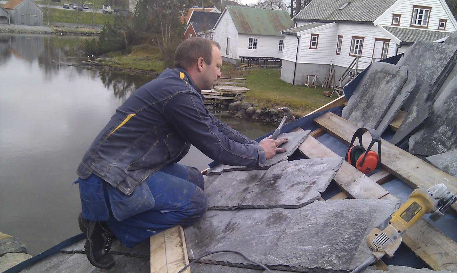 Legge skifer på tak
