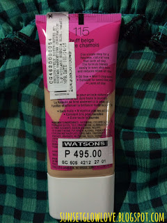 Covergirl Ready Set Gorgeous Foundation 115 Buff Beige bottle, description and price