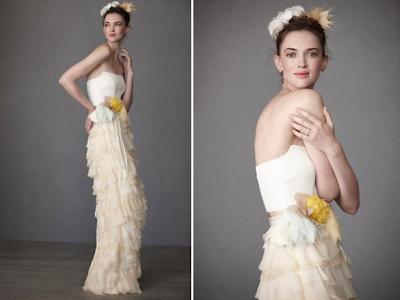 romantic-column-wedding-dress-BHLDN-strapless-bridal-sash-ruffles-wedding-dress