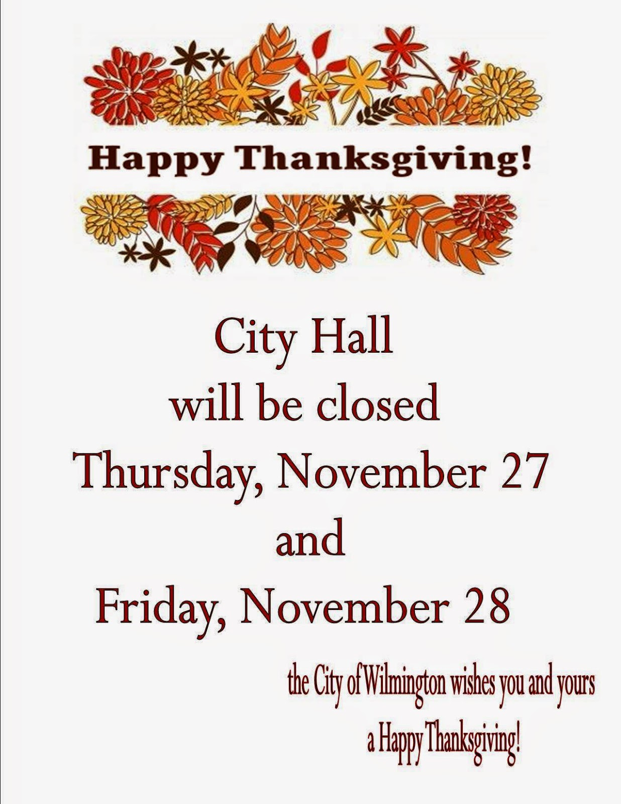 Office closed thanksgiving template friedricerecipe Images