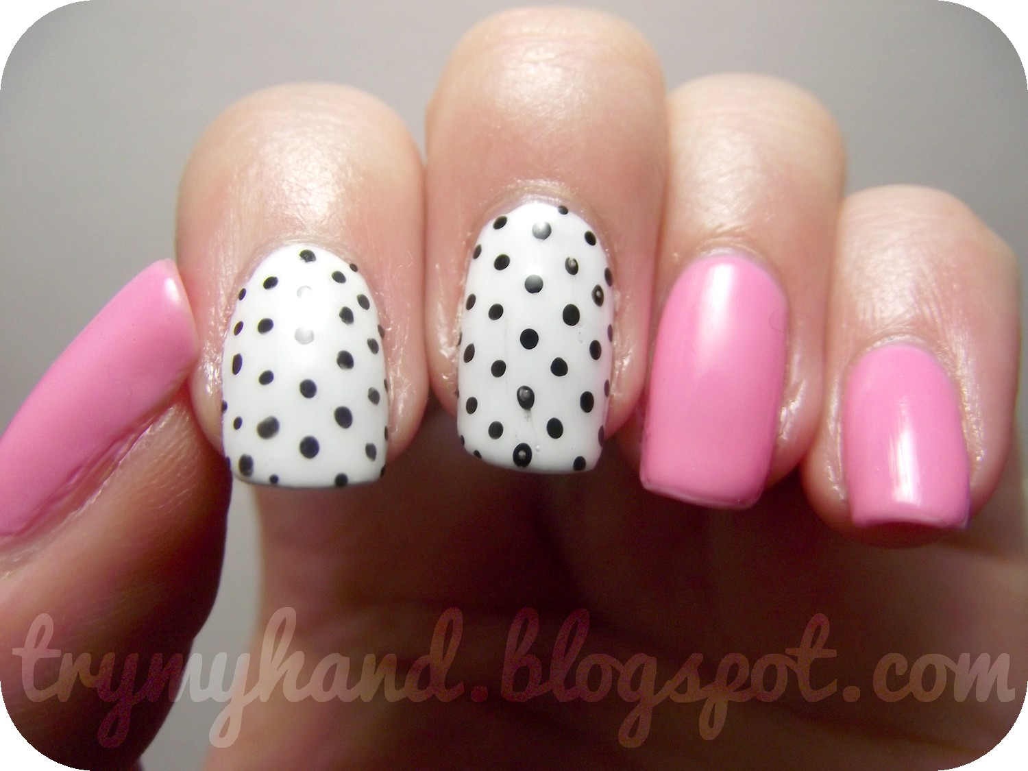 Try My Hand: White, Pink and Black Spots