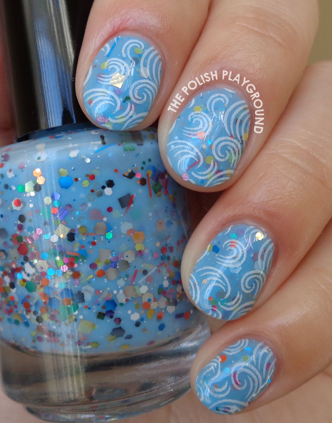 Blue Glitter Crelly with Swirly Waves Stamping Nail Art