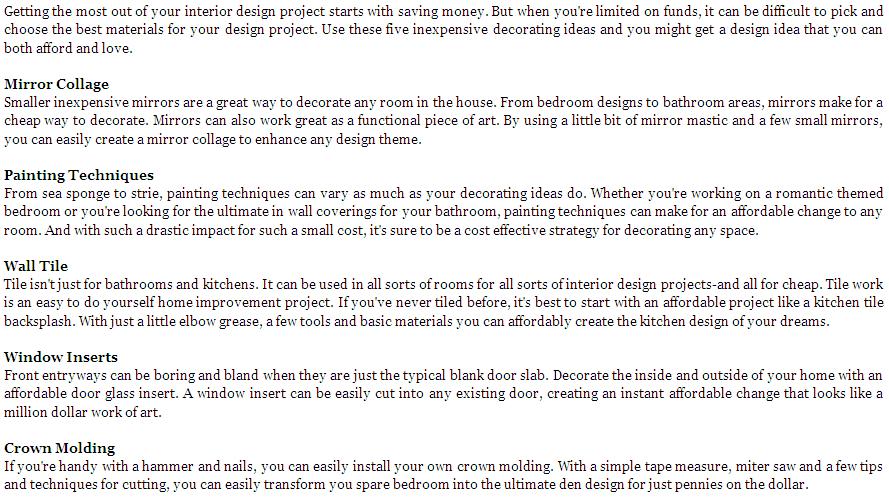 5 Inexpensive Interior Design Ideas