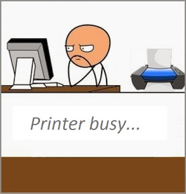 printer busy and man waiting