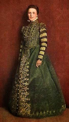 Spanyol jellegű homokóra fazonú későreneszánsz női ruha c2dc2eae4a