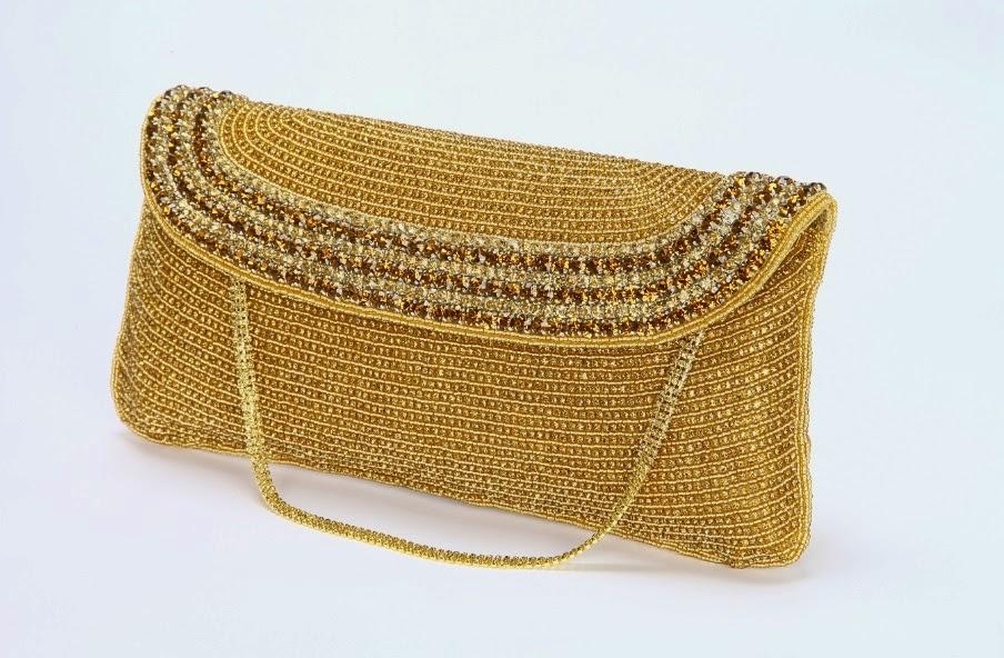 Lauren Lorraine gold ava handbag with rhinestones