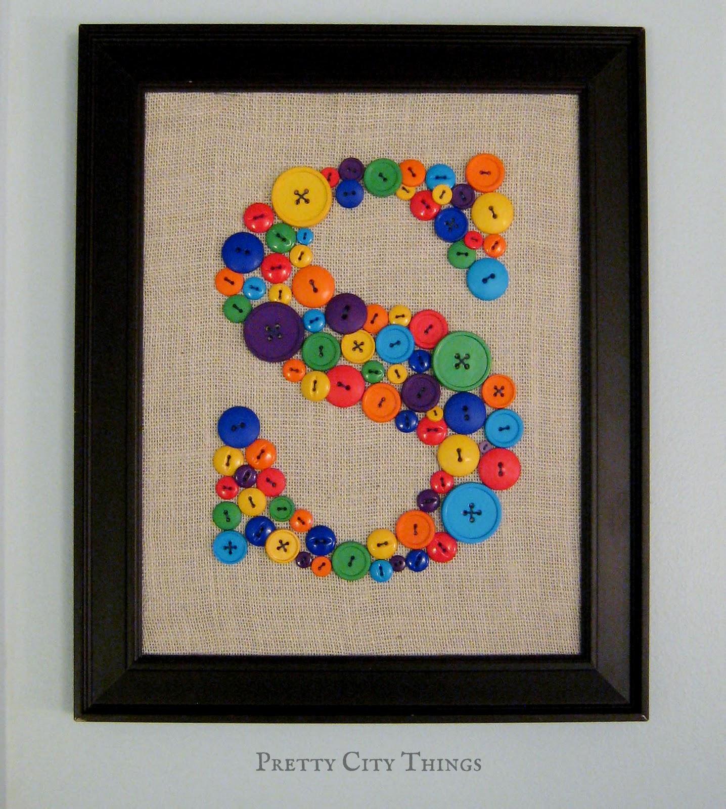 Living Pretty: DIY Button Art for the Big Boy Room