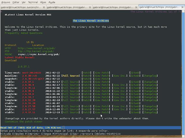 site kernel visto pelo comando lynx