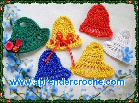 sinos croche Belém dvd natal decoração video-aulas loja aprender croche edinir-croche curso frete gratis