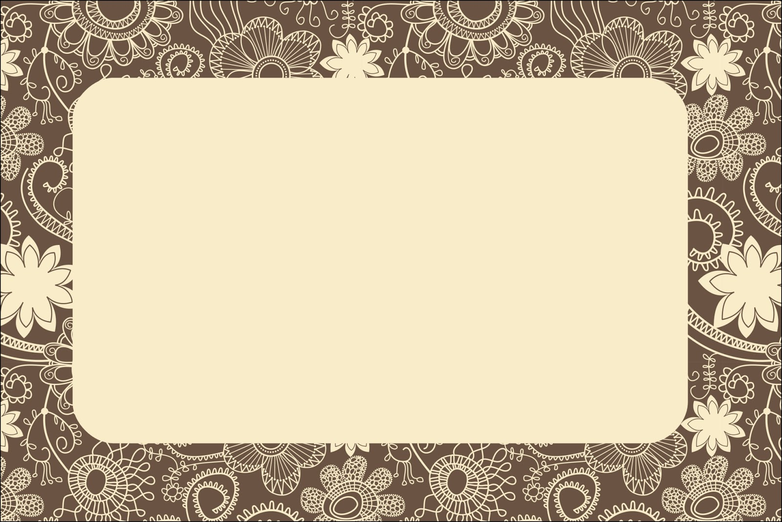 flowery in brown and beige  free printables invitations