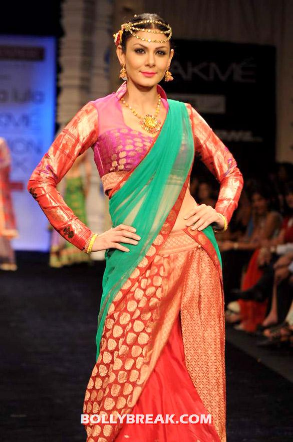 Aanchal Kumar Colorful Saree Lakme Fashion Week 2012 - Neeta Lulla's show at Lakme Fashion Week 2012